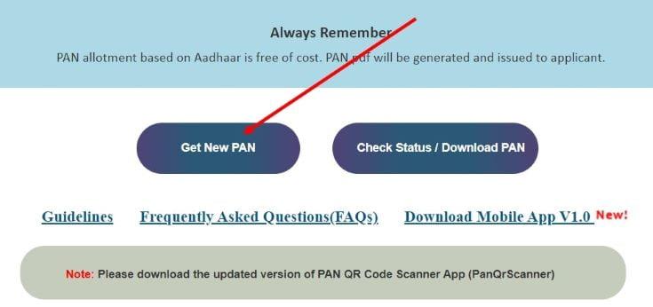 Select Get New PAN