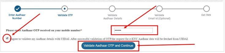 Enter Aadhaar OTP