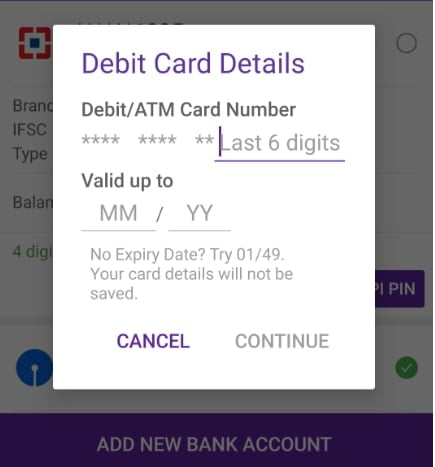 ENTER DEBIT CARD DETAILS