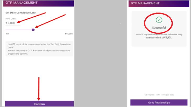 OTP management in SBI account through Yono
