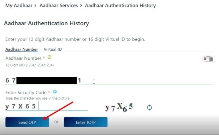 Check Aadhaar card usage history