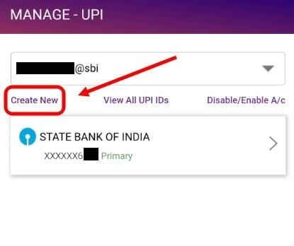 Create new UPI ID in SBI