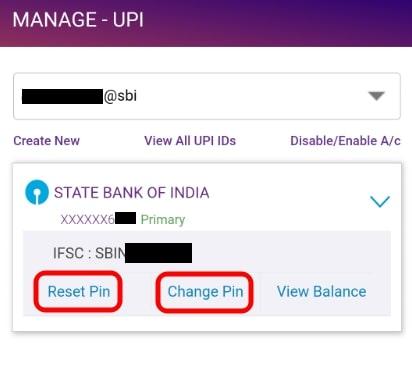 Change UPI PIN in SBI